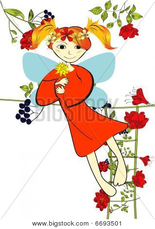 Decorative card with summer fairy