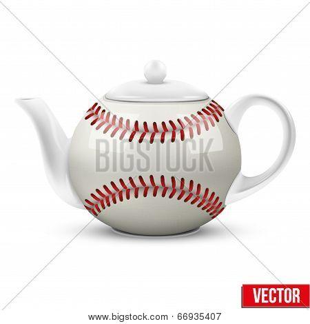 Ceramic Teapot In Baseball Ball Style. Football Vector Illustration.