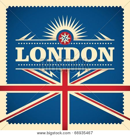 London sticker design with flag. Vector illustration.