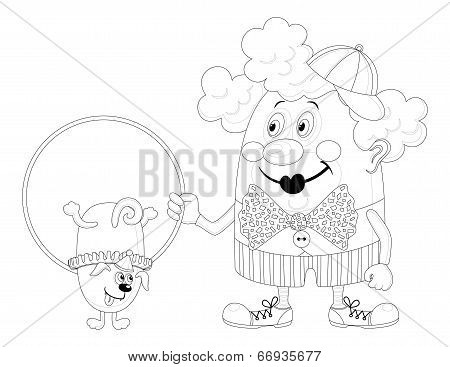 Clown with trained dog, contour
