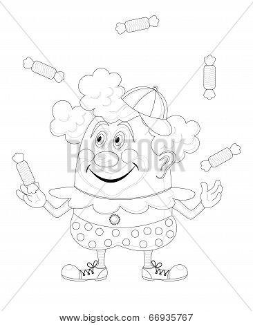 Circus clown juggling candies, contour