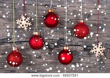 Christmas Decoration With Snow As Background