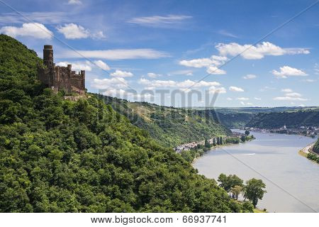 Castle Maus Overlooking The Rhine Valley
