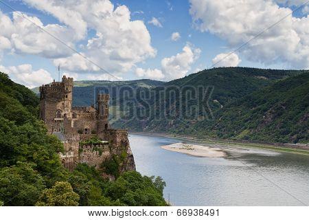 Castle Rheinstein Overlooking The Rhine Valley