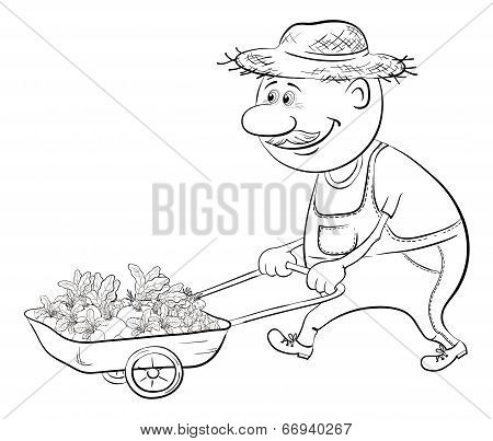 Men driven truck with vegetables, outline