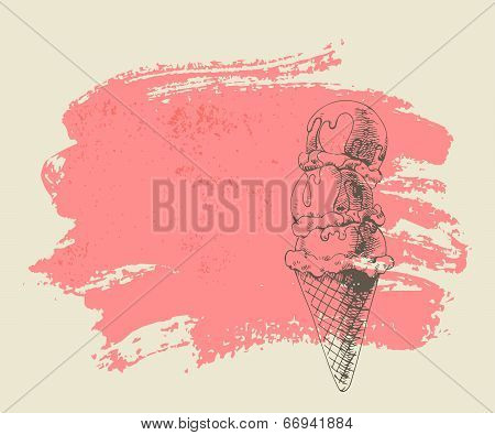 Ice cream scoops on cone on grunge background.