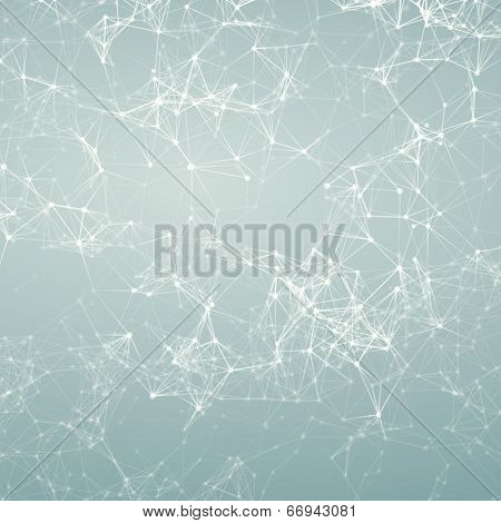 Magic Silver Abstract Background. Connecting Dots