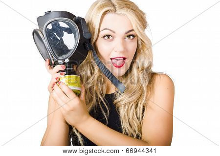 Woman In Fear Holding Gas Mask On White Background