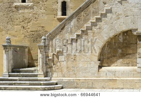 Wonderful stone staircase in the courtyard of the Swabian castle
