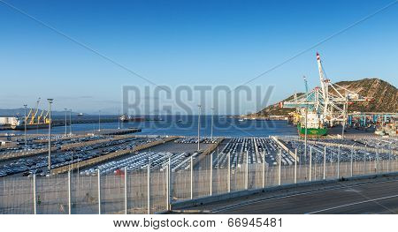 Tanger, Morocco - March 26, 2014: Cargo Terminals In Tanger-med Port, Morocco