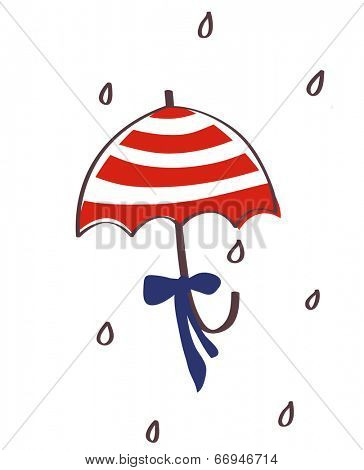 The view of umbrella with ribbon