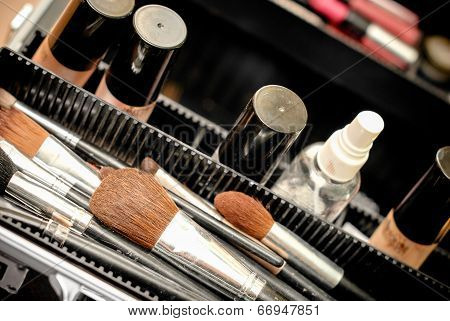Set of make-up brushes in a black case
