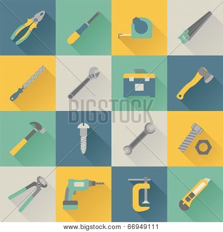 set of flat tools icons