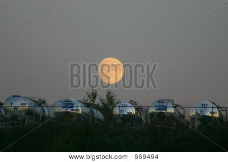 Moon over tank trucks