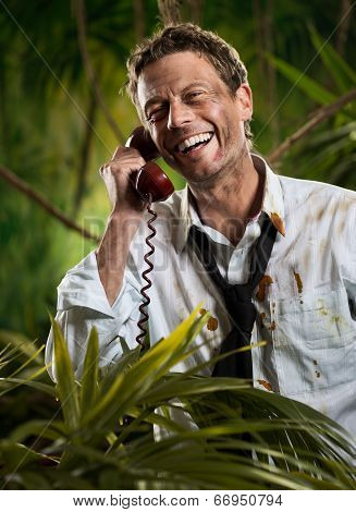 Phone Call In Jungle Wilderness