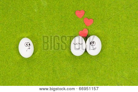 funny eggs in love and one jealous egg