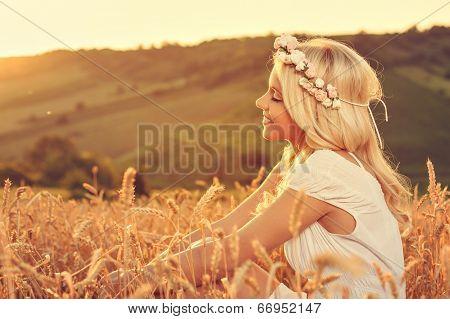 Beautiful Woman Enjoying The Nature