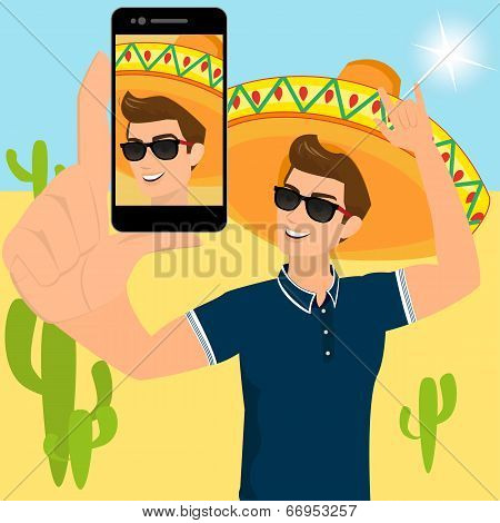 Selfie of funny guy wearing a sombrero