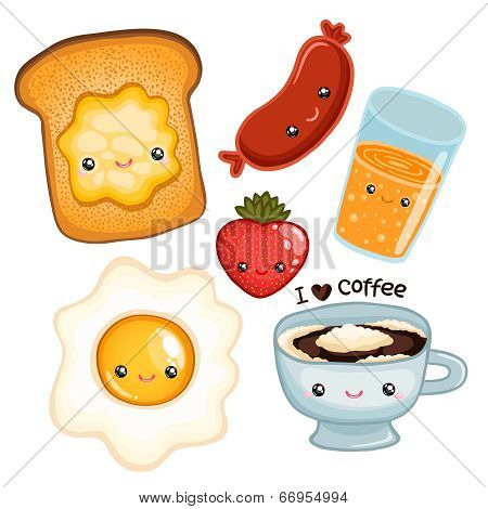cute breakfast food. vector image