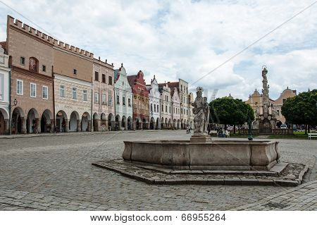 Main square in Telc, UNESCO city in Czech Republic