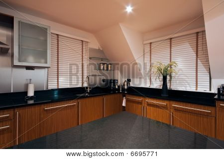 Wide Angle View Of A Modern Luxury Kitchen