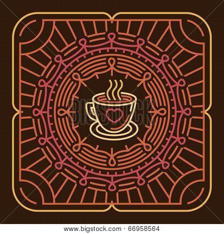Vector Coffee Mug On Round Emblem