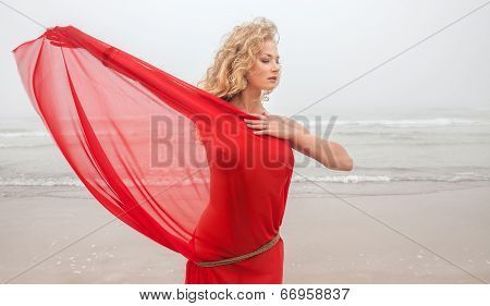 Nude Woman On Sea Beach In Foggy Day