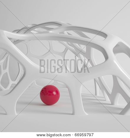 3d rendering of modern abstract grid structure with red ball
