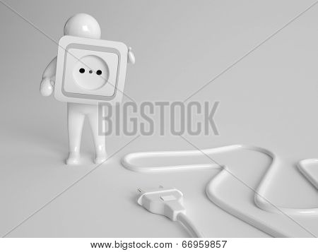 3d character holding a white plastic two prong electrical power socket cover with a plug with a coiled cable in front of him on the ground in a conceptual image