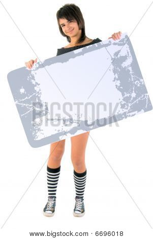 Girl With Grunge Message Board. Studio Shoot Over White Background.