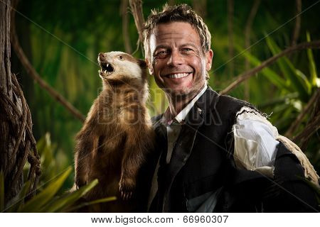 Businessman Posing With Badger