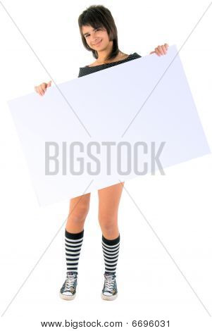 Jeans Girl With Message Board. Studio Shoot Over White Background.