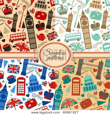 Collection of seamless patterns with London
