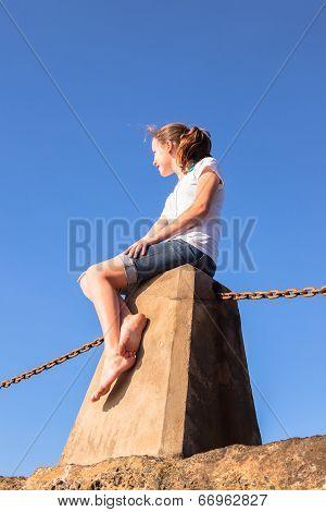 Teen Girl Relaxing Beach Blue Sky