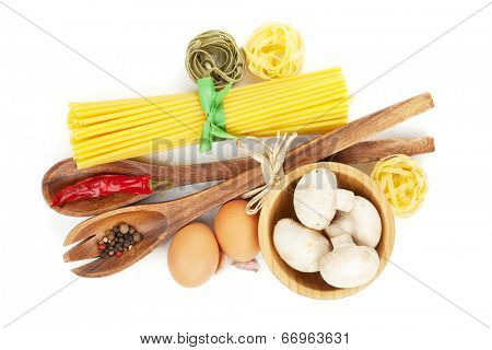 Pasta and ingredients. Isolated on white background
