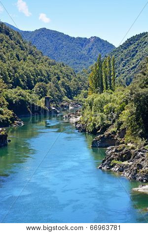The Majestic Buller River Enters The West Coast Buller Gorge.
