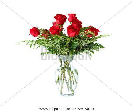 Vase arrangement of 12 long stem red roses