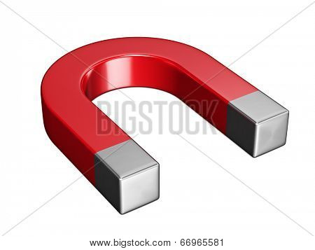 Horseshoe magnet isolated on white background