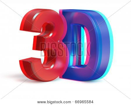 3d creative concept - metallic 3D text real stereo anaglyph image isolated on white
