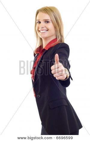 Blond Business Woman Showing Thumbs Up