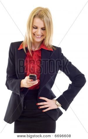 Young Woman Happily Writing Sms