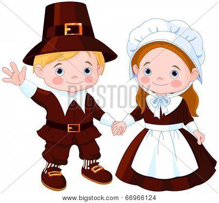 Thanksgiving Day children Pilgrim Couple. Raster version.