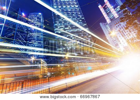 HongKong urban traffic light trails at central