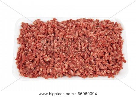 Pound Of Raw Ground Beef On White Plate