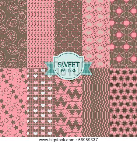 Set of sweet seamless patterns.