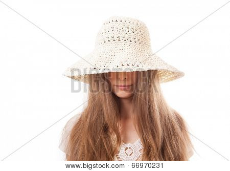 young woman in a wide brimmed hat