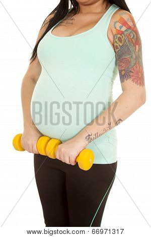 Pregnant Woman Fitness Blue Body Weights Below Belly