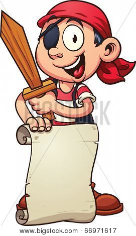 Cartoon pirate boy holding a paper scroll and a sword. Vector clip art illustration with simple gradients. Sign and character on separate layer.