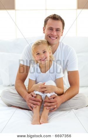 Caring Father With His Little Girl