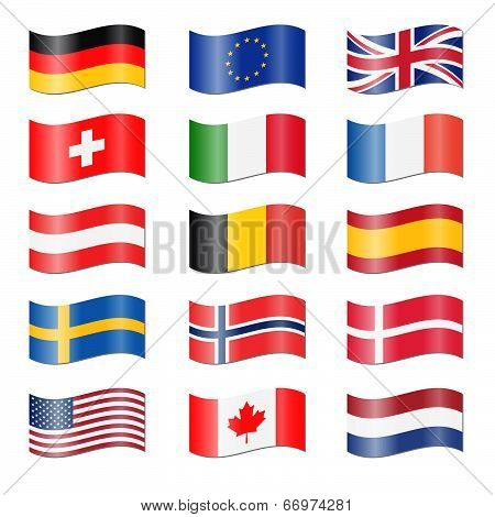 Set Of Swung Country Flags